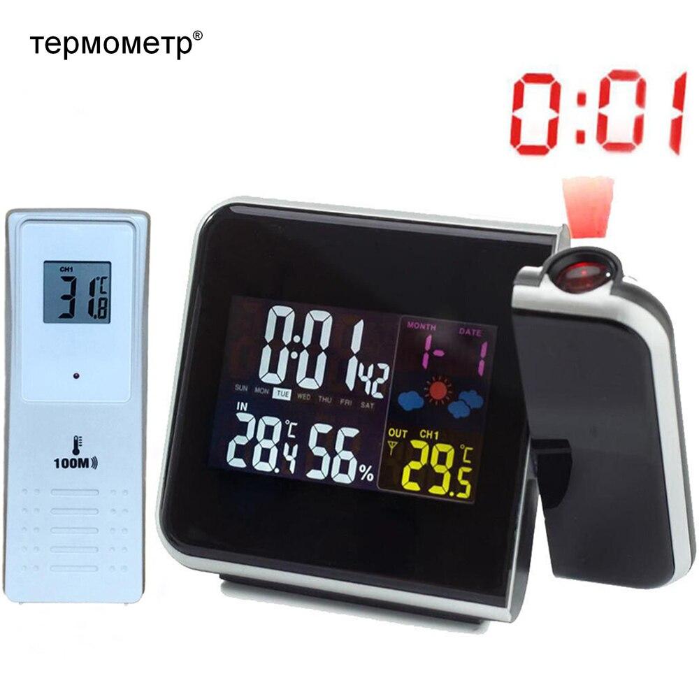 Numérique Alarme De Projection Horloge Station Météo avec Température Thermomètre Humidité Hygromètre/De Chevet Réveil Projecteur Horloge