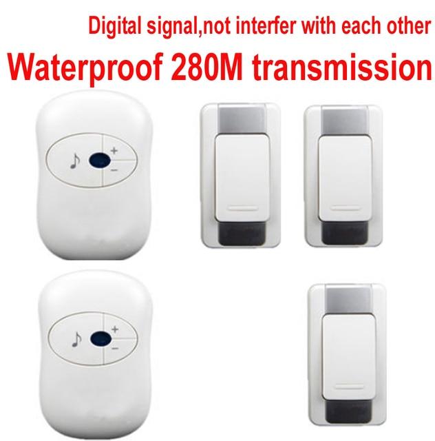 Wonderful Door Bell W/ 3 Emitters+2 Receivers Doorbell Waterproof 280m Work Wireless  Doorbell,