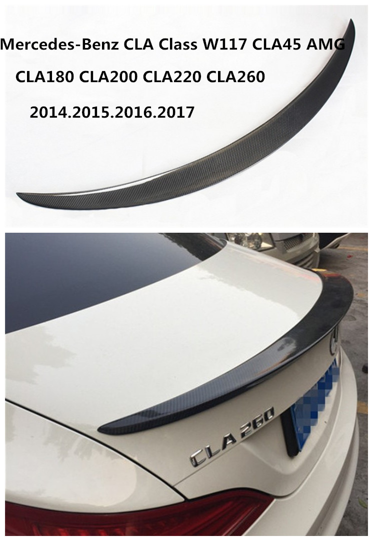 Carbon Fiber <font><b>Spoiler</b></font> For Mercedes-Benz CLA Class W117 CLA45 AMG CLA180 <font><b>CLA200</b></font> CLA220 CLA260 2014-2019 Wing <font><b>Spoilers</b></font> High Quality Accessories image