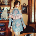 Vintage Royal Dresses Blue Emboridery Long Sleeve Off the Shoulder Tassel Slim 2017 Summer Baroque Luxury Beading Dress