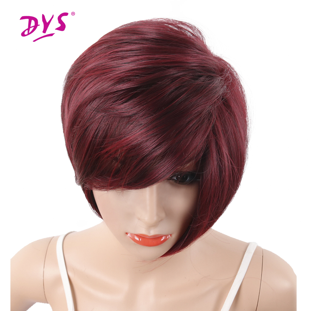 Deyngs Wine Red Short Pixie Cut Synthetic Wigs For Black Women With Side Bangs Natural Straight Heat Resistant Party Full Wig