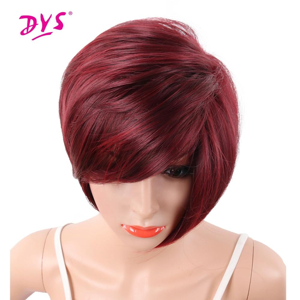 Deyngs Röd Färg Kort Syntetiska Paryk Med Bangs För Svarta Kvinnor - Syntetiskt hår
