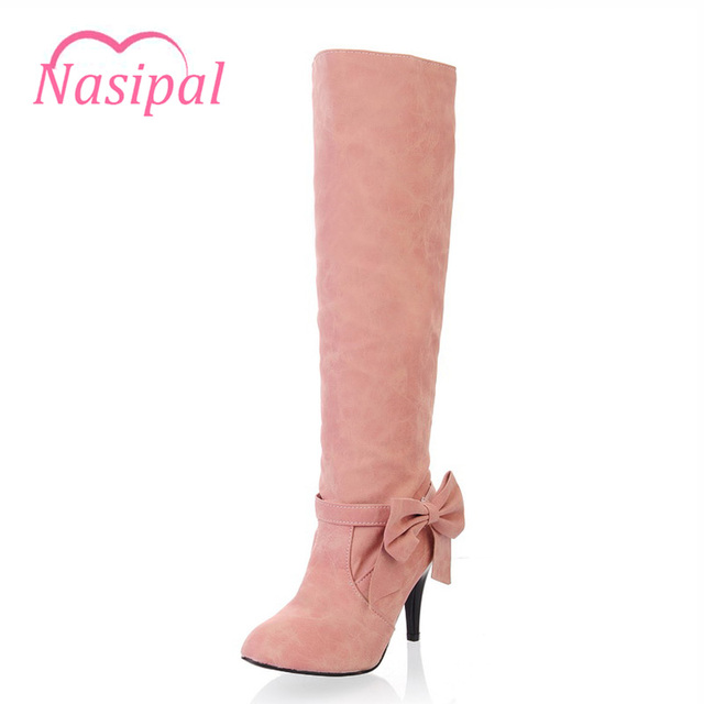 ba4182b831a Nasipal Knee High Boots Sweet Bow-tie High Heels Women s Shoes Candy Color  Thin Heel Ladies Winter Boots Pink Blue Beige C145