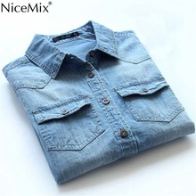 NiceMix Spring Autumn Women Blouse Casual Denim Shirt Blusas Plus Size Vintage Jeans Blouses Tops Long Sleeve Blusa