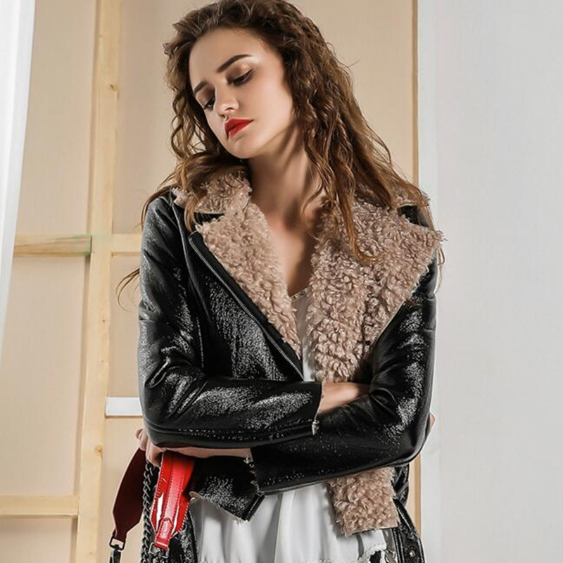 Luxury Brand Women Jacket Coat Fur Collar PU Faux   Leather   Jacket Female Casual Vintage Ladies Short Winter Warm Thick Outwear