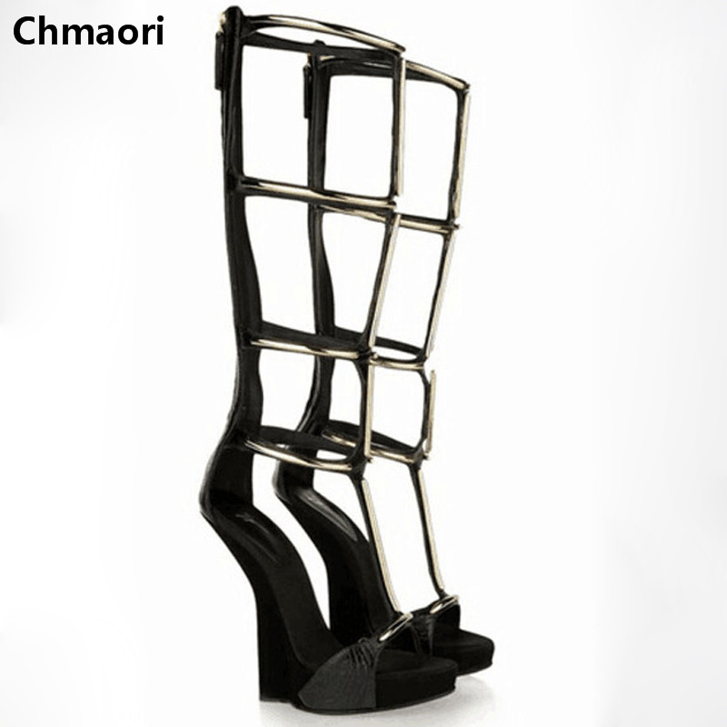 Hot selling summer women sandals gladiator cut-outs wedges knee high boots opening toe sequined high heels sexy women boots stretch fabric gladiator sandals boots women cut outs high heels shoes knee high boots summer open toe boots sandalias femininas