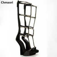 Hot Selling Open Toe Sequined Decoration Gladiator Sandals Cut Outs Wedge Knee High Summer Woman Boots