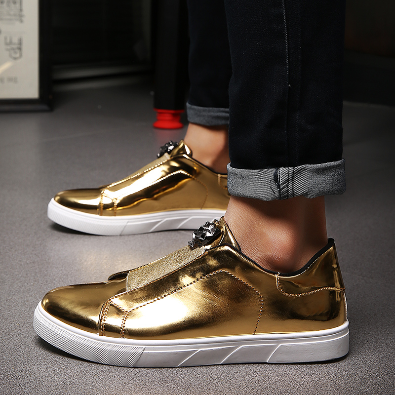 Male Slip On Skateboarding Shoes Gold Silver Men's Sneakers Comfortable Cloth Shoes Men Student School Sport Boy Shoes