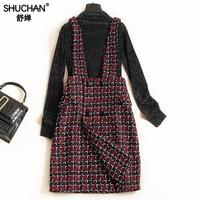 Shuchan Tweed Suit Women 2 Piece Set Women Pullover+sarafan Dress High Street Above Knee, Mini Women's Clothing Of High Quality
