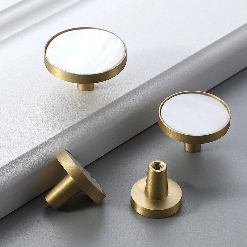 Brushed Brass Kitchen Cabinet Drawer Dresser Knobs Cupboard Furniture Knob and Pulls-4Pack