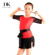 DK Fashion Girls Latin Dance Dress Microfiber Short Sleeve Dress Practice Dance Costumes 2016 New Arrival