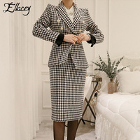 Ellacey Houndstooth Office Lady Business Skirt Suits Black White Plaid Suits For Women Blazer and Knee Length Skirt 2 Pieces Set