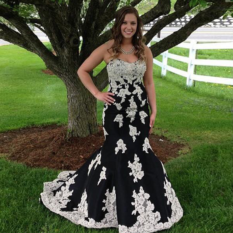 Black White Mermaid Prom Dresses