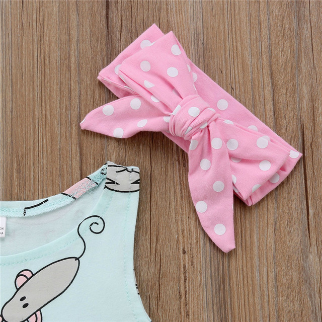 Toddler Newborn Baby Girls clothes Bow Dot Headband round neck sleeveless Geometry Rompers 2pc cotton kids summer cute Outfits
