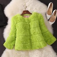 Women Full Pelt Rabbit Fur Coat Real Natural rabbit hair fur Outwear