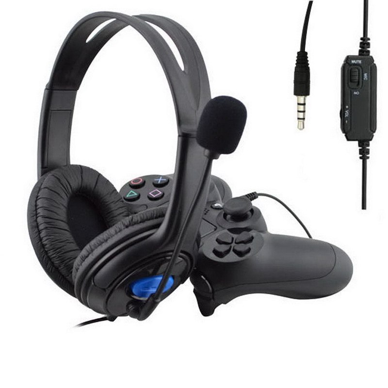 3.5mm Wired Headphone Game Gaming Headphones Headset With Microphone Mic Earphone for PS4 Sony PlayStation 4 /PC Computer