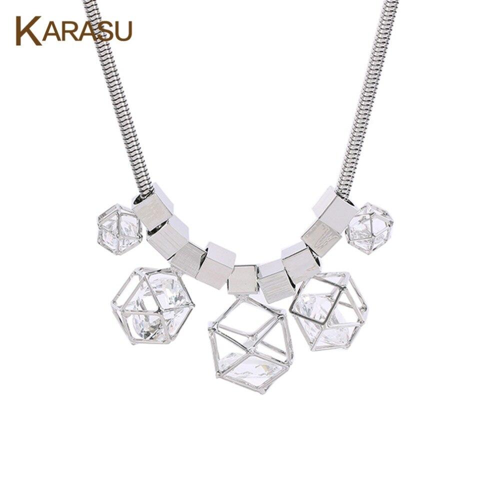 Karasu nueva boho hueco cuadrado cubo geométrico con gran rhinestone austríaco d