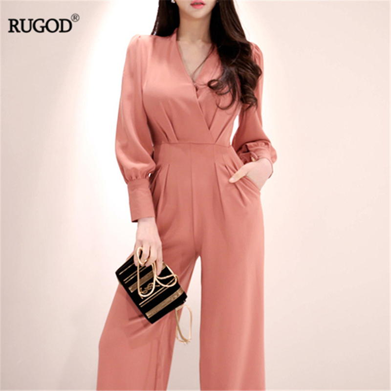 RUGOD Loose Women Jumpsuits Solid Elegant Straight Pants Long Sleeves Sashes Official Ladies Vintage Jumpsuit Summer Modis Femme