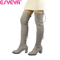 ESVEVA 2018 Over The Knee Boots Winter Round Toe Warm Women Boots Lady Short Plush Stretch