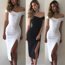 Женское Бандажное облегающее платье с открытыми плечами однотонное