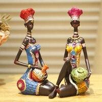 Home Decoration Unique Decoration Furnishings Desktop Decoration Crafts Smallsweet Resin Folk Art African Girl People Home