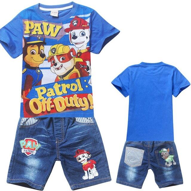 2016 летние мальчики одежды; Puppy Patrol девушки одежда набор; шорты + с коротким рукавом футболки дети спортивный костюм; детская одежда набор