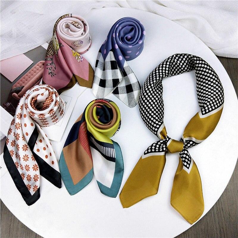 HOT Summer Women Silk Square Women Scarf Soft Multicolor Printing Kerchief Neck Decorative Scarfs Foulard Apparel Accessories
