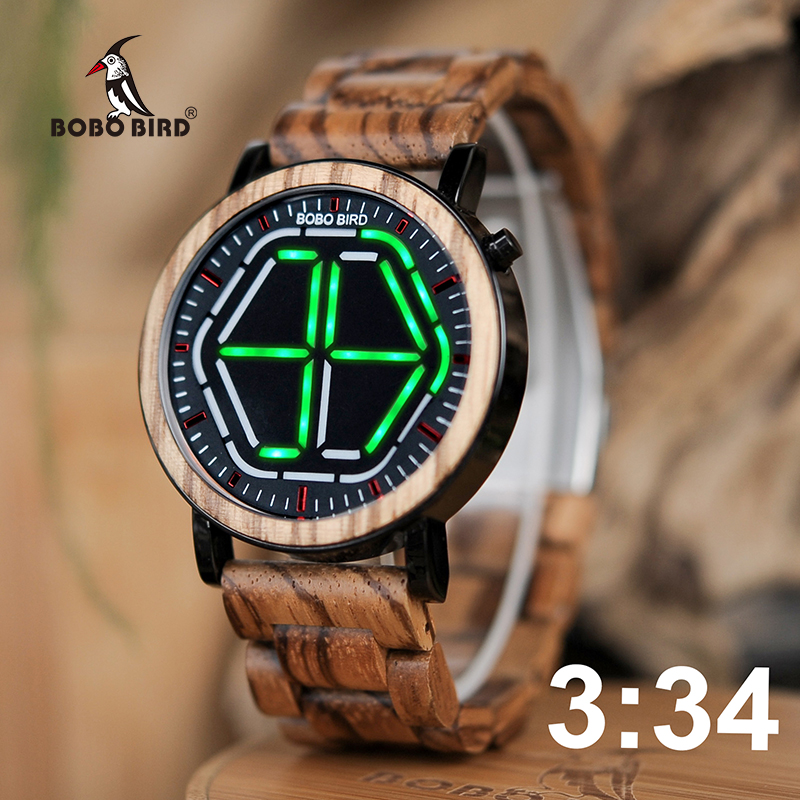 BOBO BIRD WP13 design de marca, relógio digital, relógio visão noturna de madeira, design mini led led colorido com display de tempo único Tokyoflash