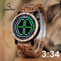 BOBO BIRD Wood Digital Watch Men erkek kol saati Night Vision Wooden Watches LED Time Display relogio masculino in Wood Gift Box