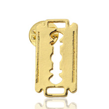 Gothic Punk Emo Razor Blade Lapel Pin Brooch Trendy Men Boy Tool Brooches Pins Fashion Jewelry Badges Gifts(China)