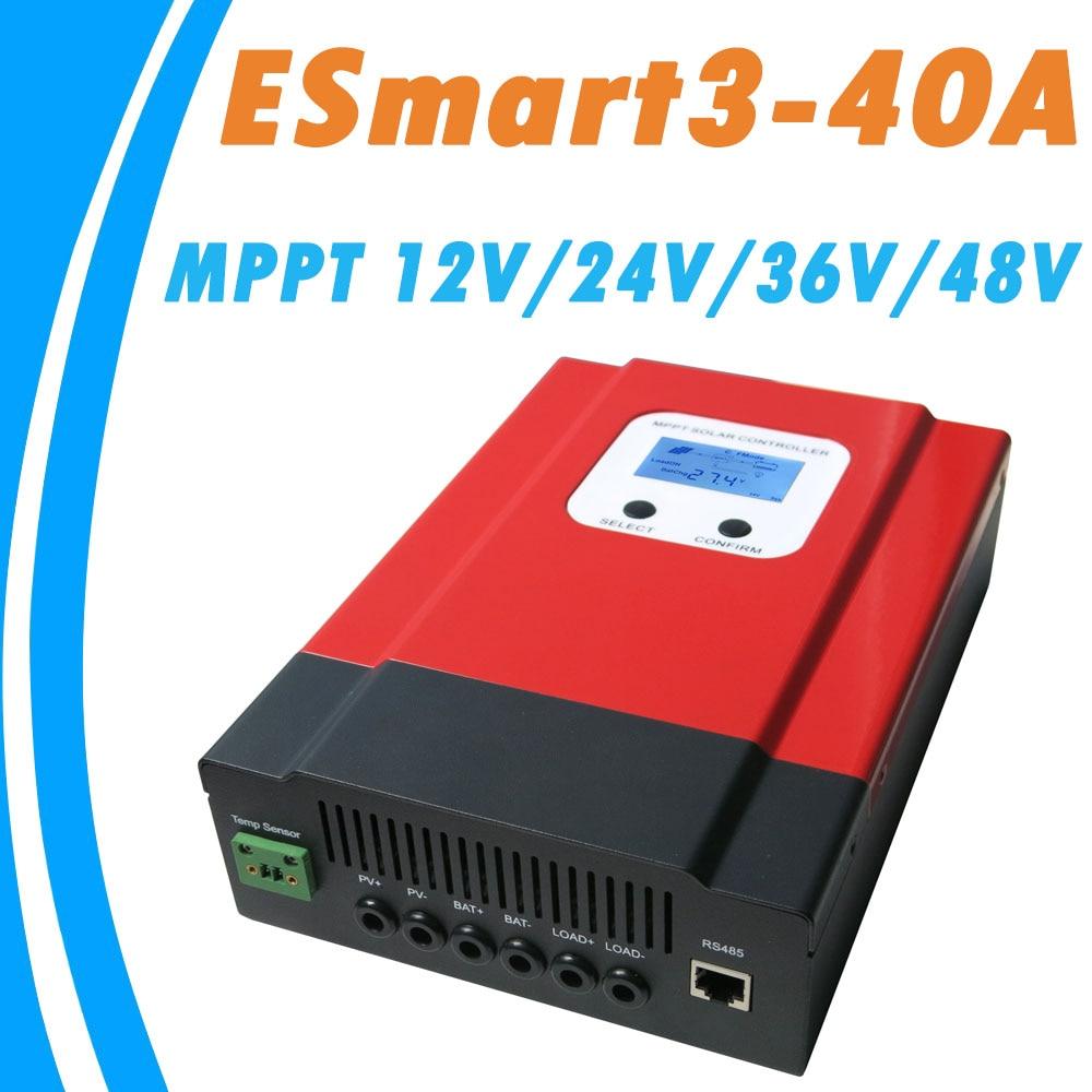 Upgraded ESmart3 MPPT 40A Solar Controller 48V 36V 24V 12V Auto Back light LCD Display Max