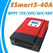 Модернизированный ESmart3 MPPT 40A Солнечный Регулятор 48 В/36 В/24 В/12 В Авто Вернуться свет ЖК-Дисплей Макс 130VDC Вход Энергосбережения Порт RS485