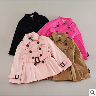 Niños de las muchachas de la blusa plisada abrigo doble de pecho abrigo en otoño en europa y américa