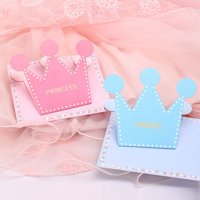 6pcs Lot Pink Blue Prince Princess Crown Party Invitation Card