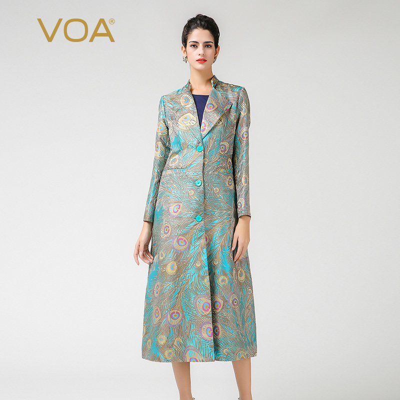 VOA luxuly silk jacquard long   trench   lengthen peacock print custom   trench   ladies 3xl long sleeve turn down windbreaker F5330