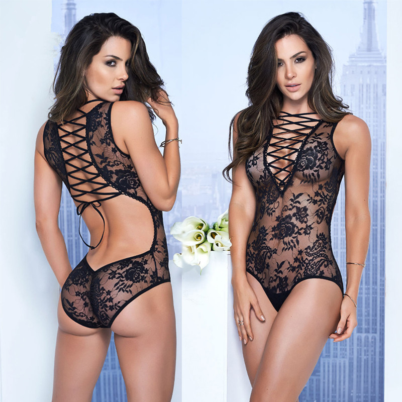 New Arrival Rope Sexy Lingerie Hot Hollow Out Deep V Bandage Lace Dress Erotic Lingerie For Women Sexy Underwear Nightwear