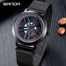 SANDA rotation cadran hommes montres haut de gamme de luxe en or Rose maille montre hommes mode affaires montres Relogio Masculino P1009