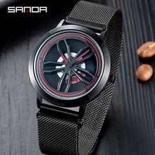 Sanda girar dial relógios masculinos marca de topo luxo rosa ouro malha relógio masculino moda negócios relógios pulso relogio masculino p1009