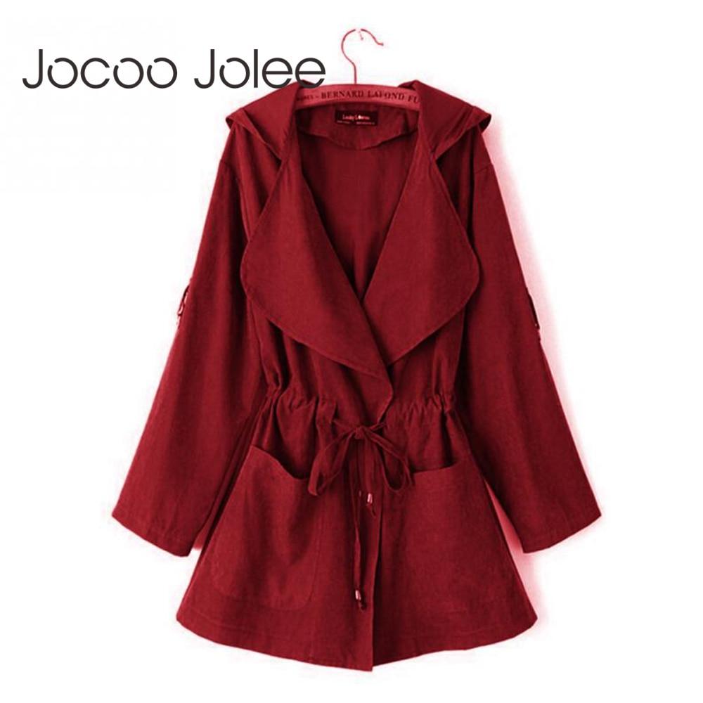 Jocoo Jolee New 2018 Women Jack Cost Autumn Hooded   Coat   Jacket Casual Elastic Waist Pocket Kimono Female Loose Outwear