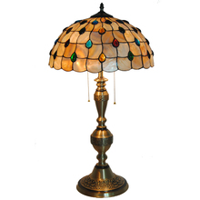New Antique Copper Table Lamps E27 Classic Vintage Stained Glass Lampshade Home Decor Bedroom Bedside Reading Desk Lights TL204