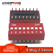 10PCS DIP Switch 8 Way 2.54mm Toggle Switch Red Snap Switch Wholesale Electronic