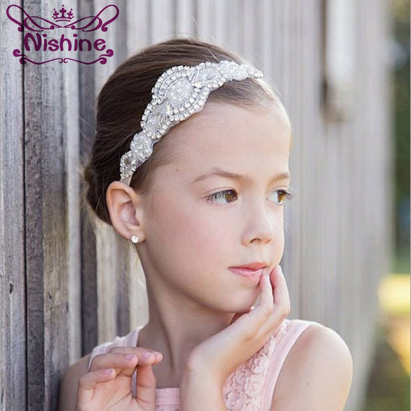 Nishine Crystal Shinny Headband Rhinestone Girl Hair Band Children   Headwear   Newborn Photo Prop Wedding Jewelry Headband
