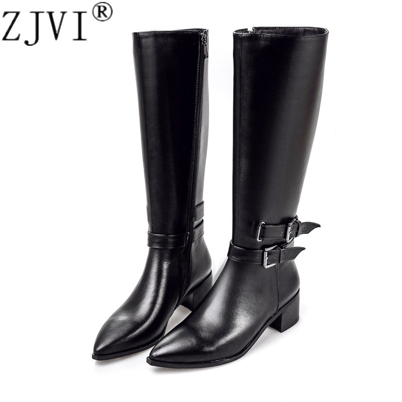ZJVI women genuine leather thigh high boots womens winter autumn knee high boots 2018 sexy black buckle woman pointed toe shoes knee high women spring autumn boots sexy high heel leather boots pointed toe buckle decoration designer boots wine white shoes
