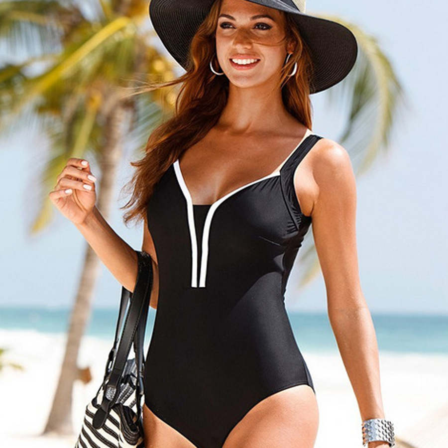 New One Piece Swimsuit Women Vintage Monokini Female High Waist Bathing Suits Black Plus Size Swimwear Swim Suit M-4XL 2017 new sexy one piece swimsuit strappy biquini high waist one piece swimwear women bodysuit plus size bathing suits monokinis
