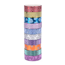 10 unids/set Washi Tape Set purpurina Color japonés papelería Scrapbooking cintas decorativas cinta adhesiva Kawai adhesiva Decorativa(China)