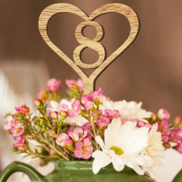 1 10 Wooden Wedding Table Numbers Heart Shape Wood Numberic Signs