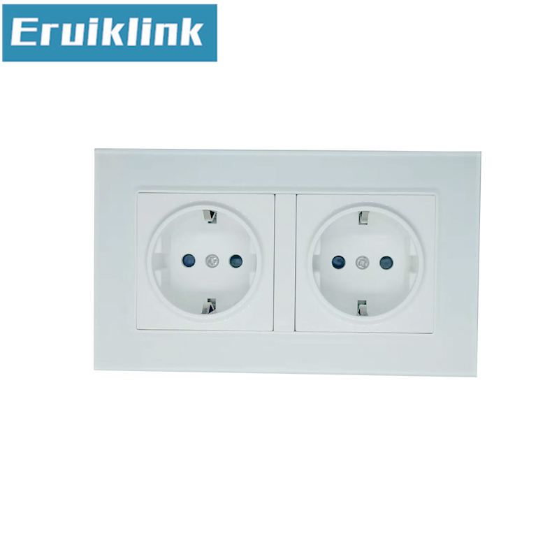 EU Standard 2 Gang Wall Power Socket White Crystal Glass Panel AC110V 250V 16A Wall Outlet in Electrical Sockets from Home Improvement