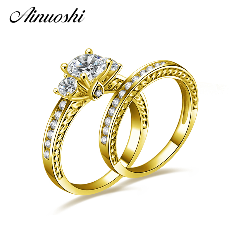 AINUOSHI 10K Solid Yellow Gold Wedding Rings Sets Round Cut Sona Simulated Diamond Engagement Anillos Mujer Women Wedding Ring ainuoshi 10k solid yellow gold wedding ring sona simulated diamond jewelry lady anillos new flower shape women engagement rings