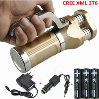 New LED Tactical Flashlight 6000LM 3xCREE XML T6 LED Rechargeable Defensive Flash Torch Light Lamp 3x18650