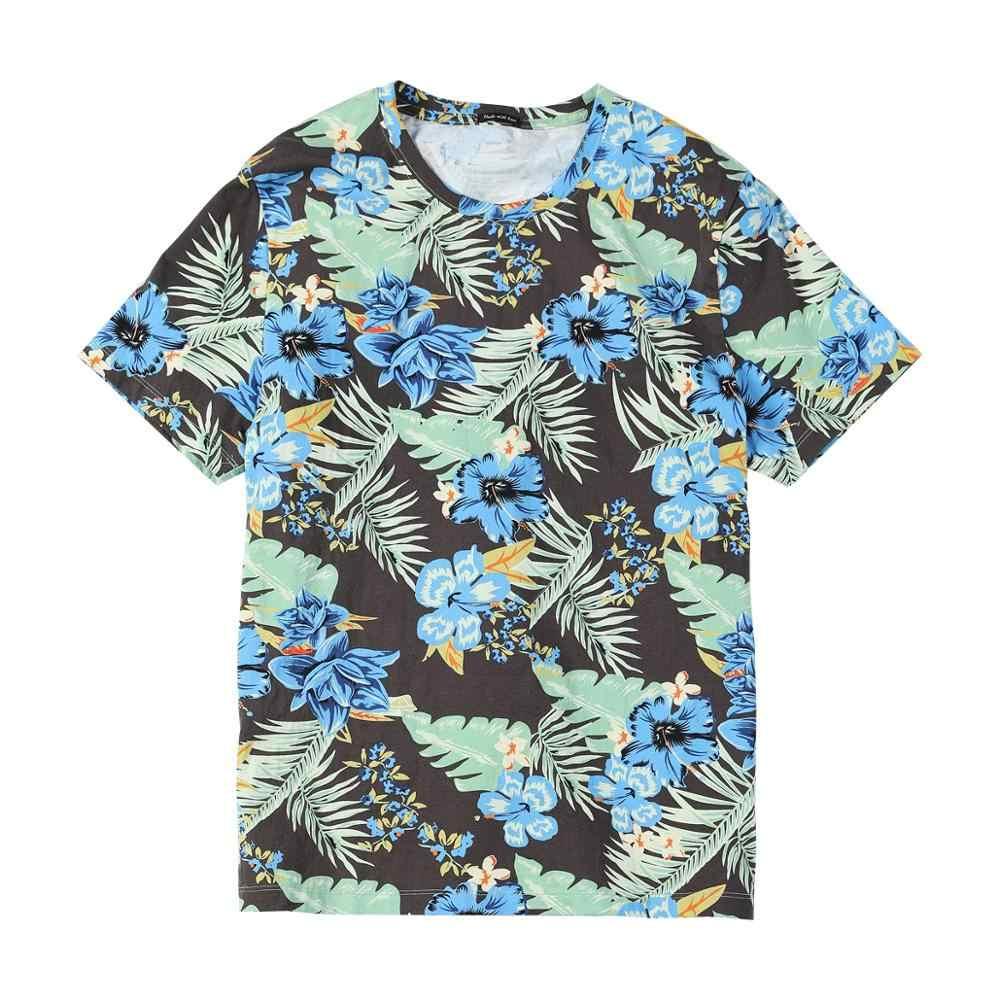 Simwood 2019 verão nova hawaii impressão t camisa masculina casual floral de alta qualidade camiseta superior respirável 100% algodão tshirt 190325